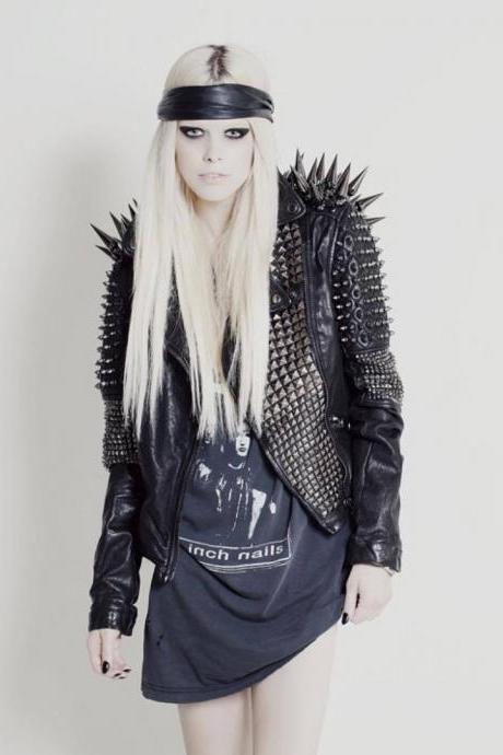 NEW WOMAN BLACK LONG SPIKED STUDDED PUNK RIDER COWHIDE LEATHER JACKET XS TO 6XL