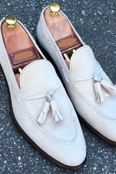 Handmade White Moccasin Slipper Tussle Leather Dress Formal Office Shoes