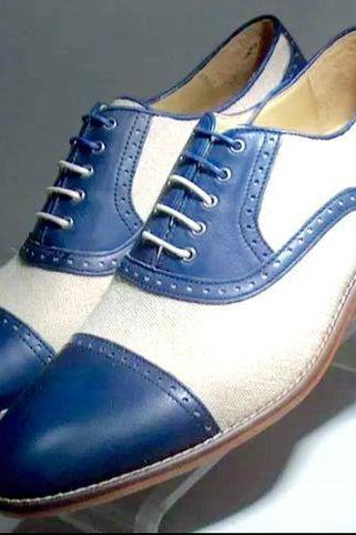 Men,s Handmade Oxford Two Tone shoes, Men White Blue Dress Office Cap Toe
