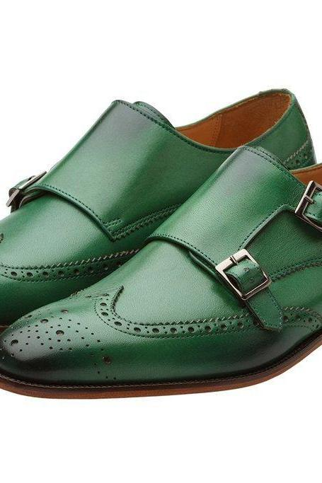 Green Men's Monk Double Buckle Straps Wing Tip Brogues Toe Real Leather Shoes