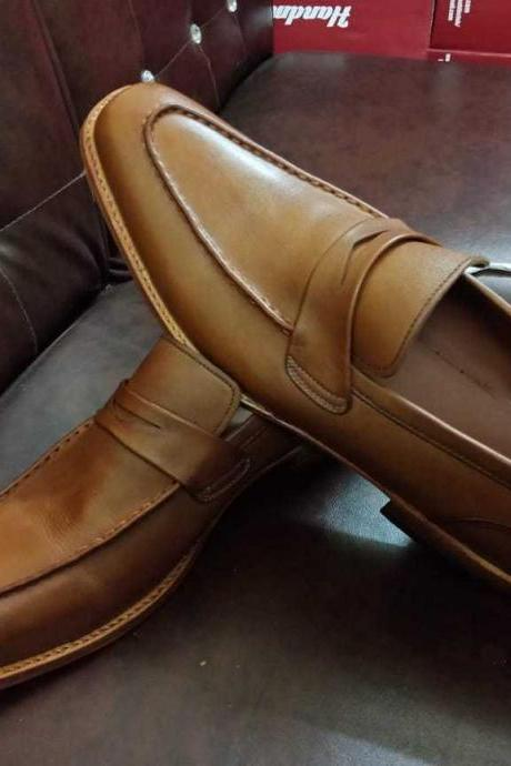 Handmade men tan leather shoes, moccasin formal dress shoes men, leather shoes