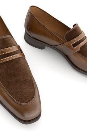 Handmade men two tone spectator shoes, men brown dress leather shoes