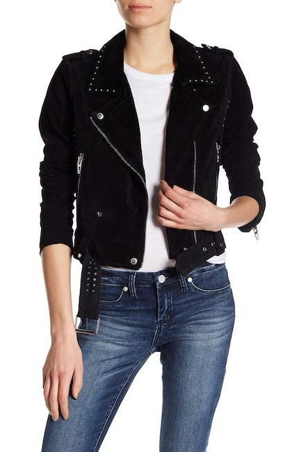 Women Black Genuine Suede Leather Jacket Silver Small Studs Front Zipper