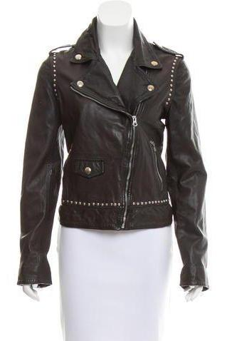 Hand Made Women Black Biker Genuine Leather Jacket Silver Studs Zippered Sleeves