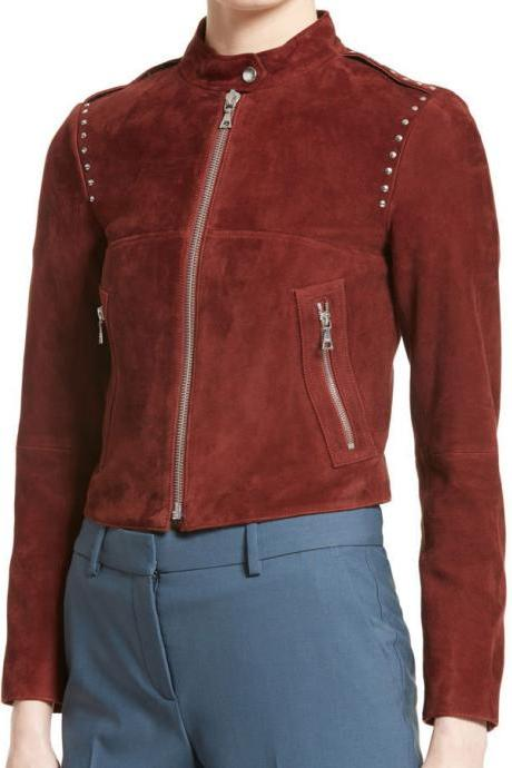 Maroon Color Women Genuine Suede Leather Jacket Silver Studded Front Zipper