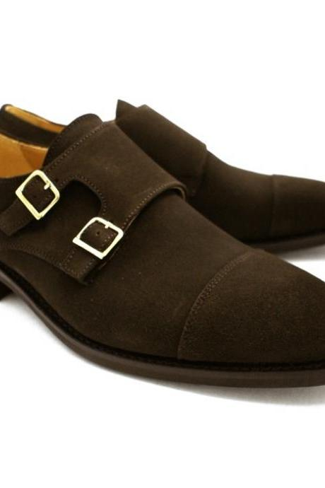Men's Brown Color Monk Double Buckle Straps Rounded Cap Toe Suede Leather Shoes