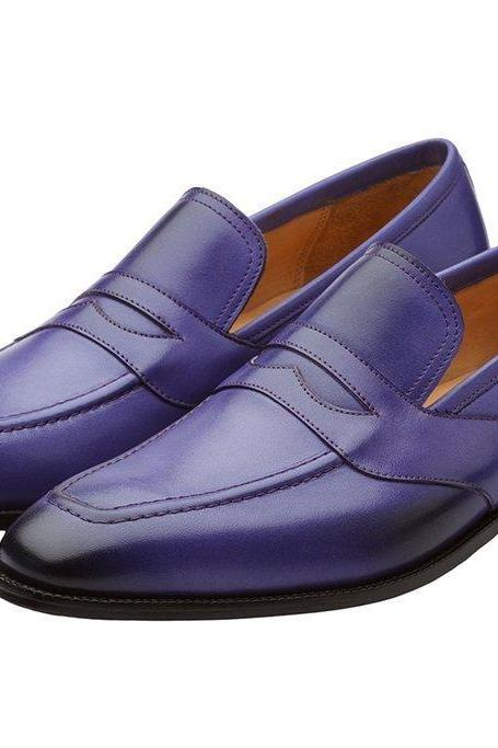 Genuine Real Leather Purple Moccasin Loafers Slip Ons Apron Toe Shoes for Men's