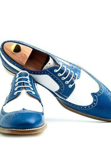 Men's Two Tone Derby Wing Tip Brogues Toe Real Leather Lace up Party Wear Shoes