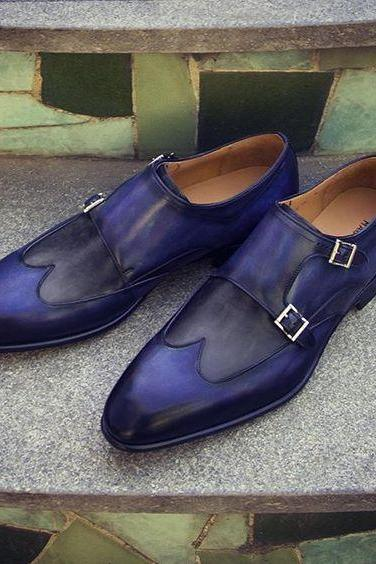Two Tone Monk Double Buckle Strap Real Leather Wing Tip Plain Toe Shoes 4 Men's