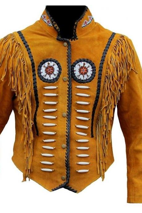 Women's Suede Leather Jacket Ladies American Fringes and Beads Western Wear Coat