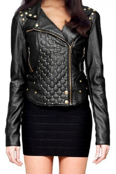 Made To Order Black Biker Quilted Genuine Leather Gold Studded Handmade Jacket