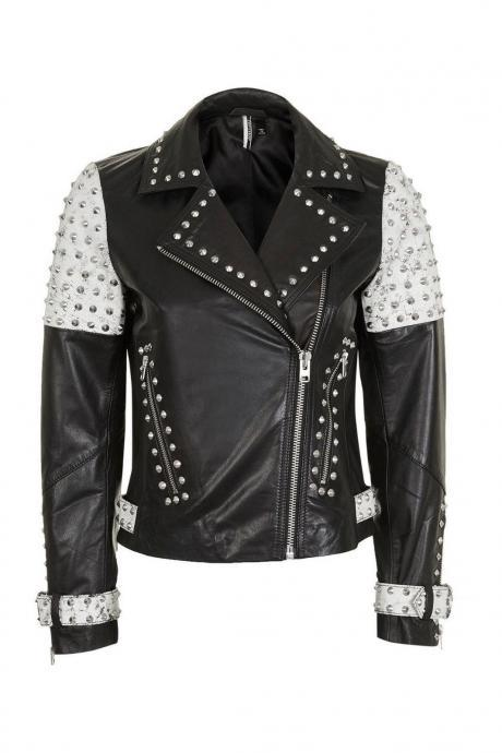 Women's Two Tone Contrast Genuine Leather Silver Spike Studded Brando Jacket New