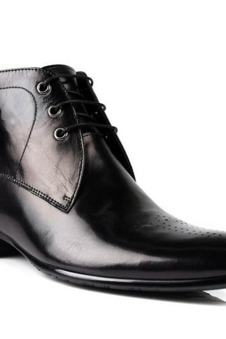 New Handmade men derby black ankle high boots, Mens lace-up dress leather boots