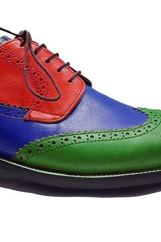 Multi color Handmade Shoes, Men Leather Wing tip Lace Up Dress Formal Party Shoe