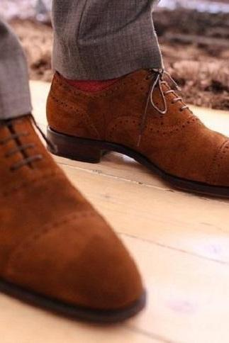 Handmade Men Brown Color Real Suede Leather Wing Tip Matching Sole Lace Up Shoes