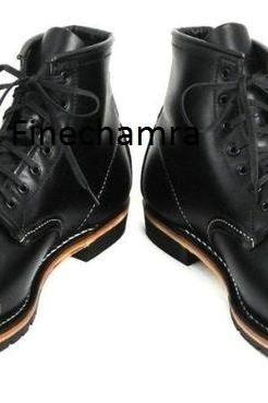 Handmade men black boots, military style boots for men, nepolean combat boots