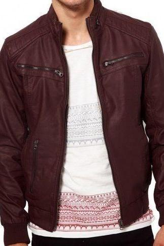 Men maroon-color ban collar bomber biker leather, Mens motorcycle leather jacket