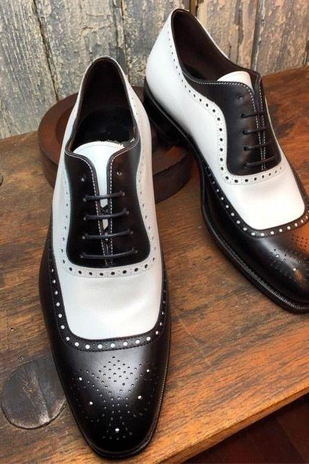Handmade Two tone brogue leather shoes, Men black and white lace up formal shoes