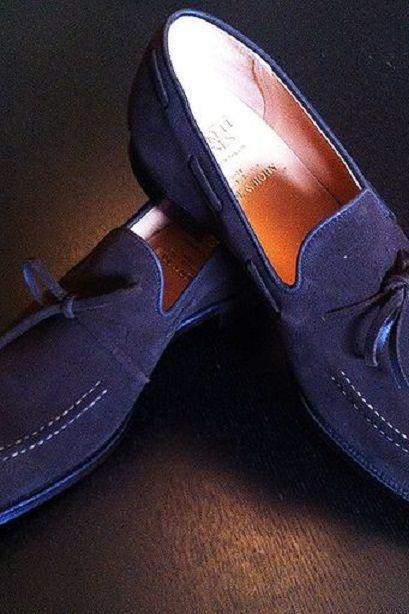 MEN HANDMADE DARK BLUE COLOR TASSEL LOAFER Suede LEATHER SHOES ALL SIZES