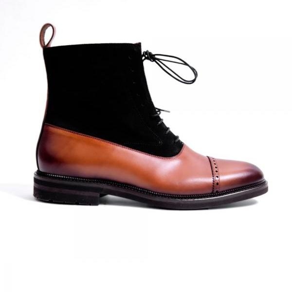 Handmade Boots, Ankle High Casual Brown Black Leather Boots, Men Boots