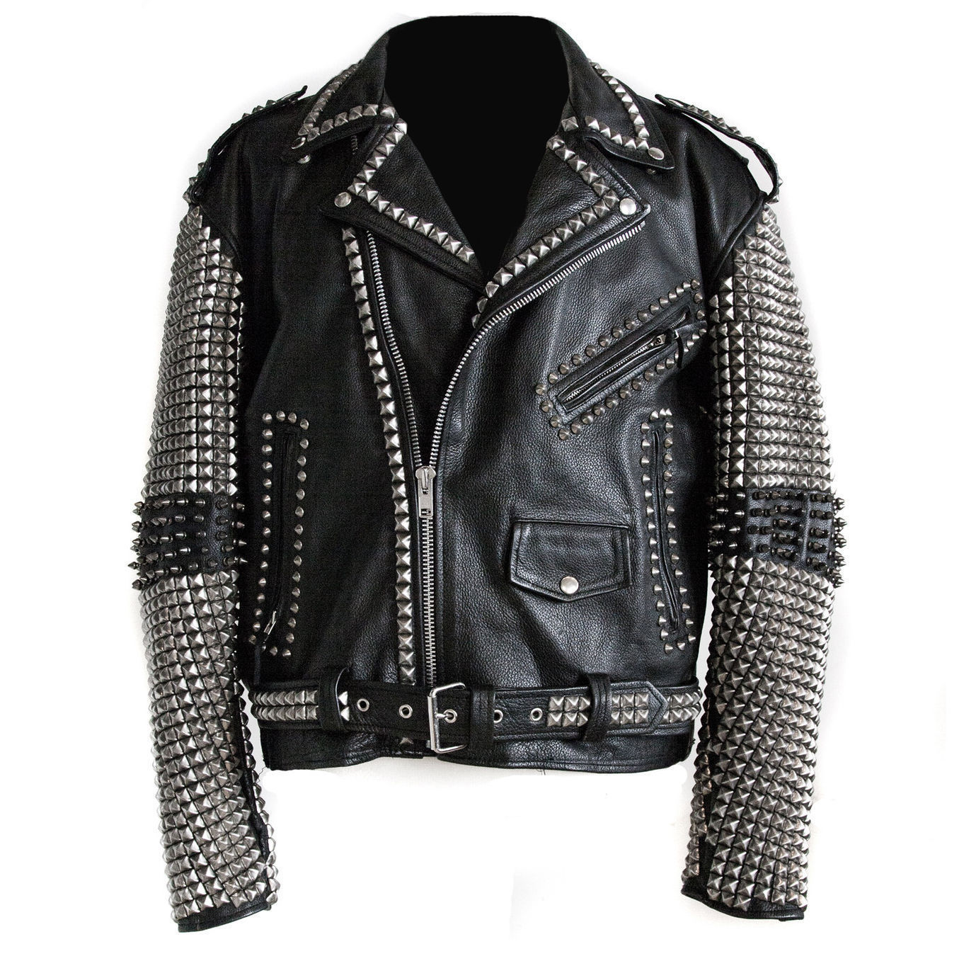 3fd093596b Handmade Men studded leather biker motorcycle rocker jacket Rock punk design