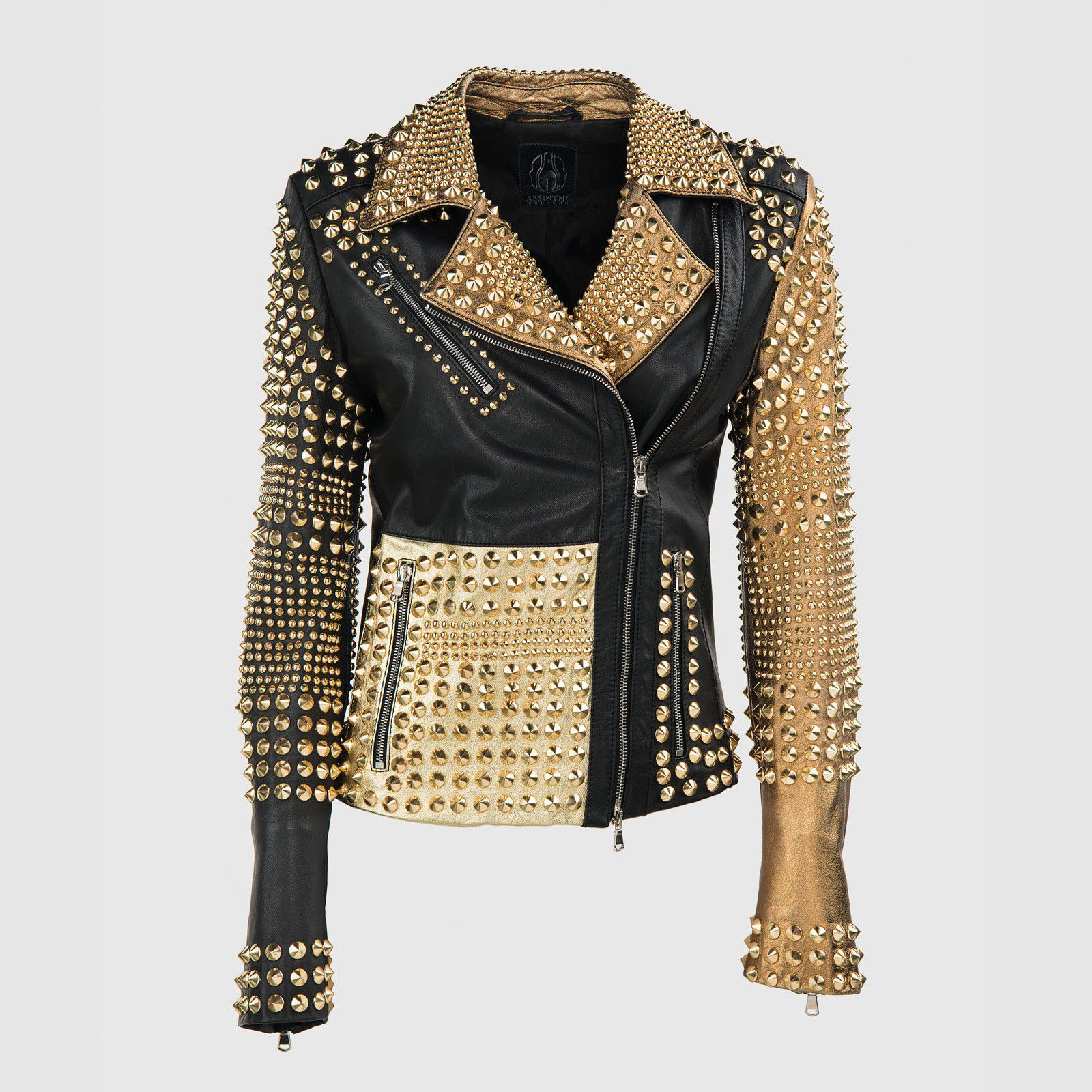0cc844491c Woman Philipp Plein Multicolor Full Golden Studded Leather Jacket  (BestSale) on Luulla